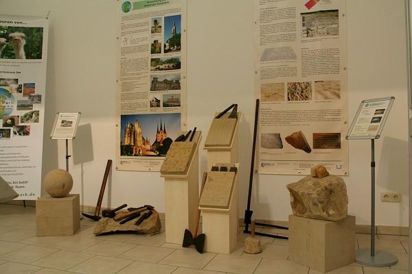 Ausstellung im Geoinfozentrum auf der Wasserburg in Günthersleben-Wechmar - Baumaterial Seeberger Sandstein