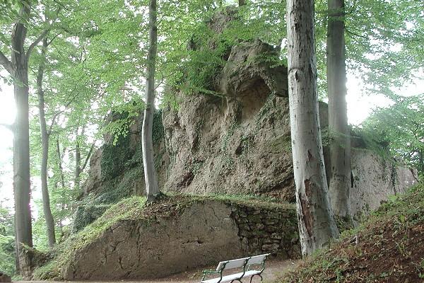 Felsen des Altensteiner Riffs im Landschaftspark Altenstein bei Schweina/ Bad Liebenstein