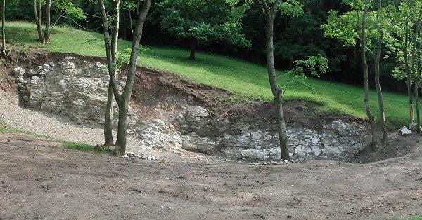 Aufschluss des Heldburggips am Geotop Eckhardtshög bei Mühlberg