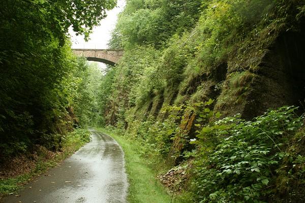 Mommelstein-Radweg nahe des ehemaligen Bahnhofs Auwallenburg bei Trusetal