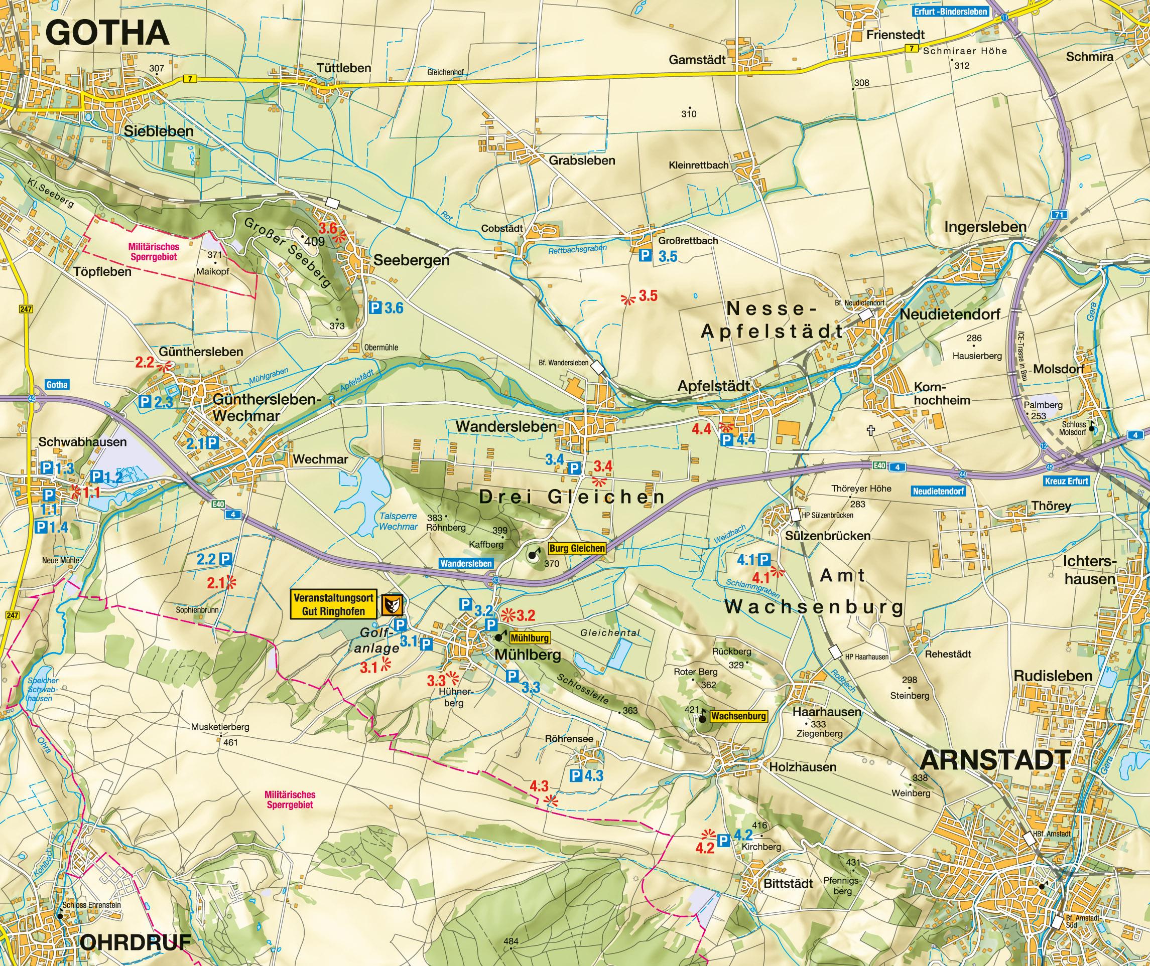 Karte der Standorte zum Drei(n)schlag 2014