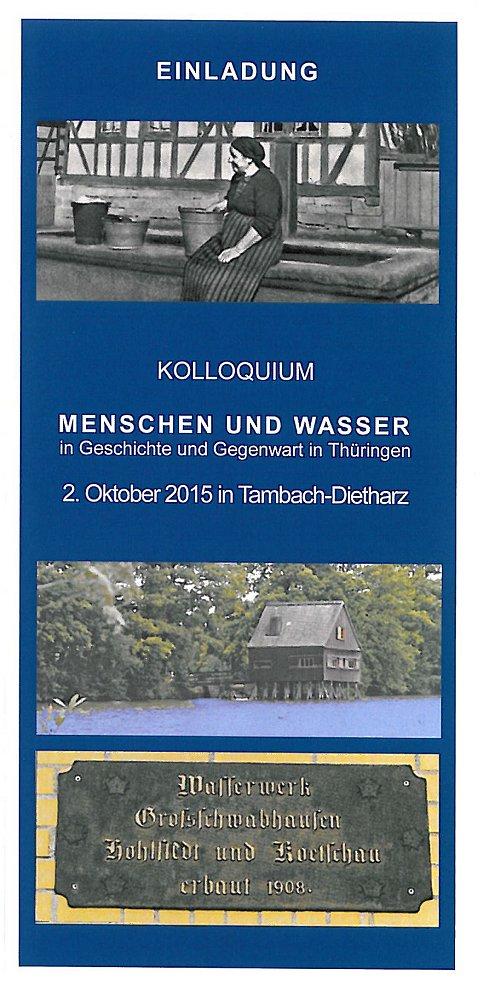 """Kolloquium """"Menschen und Wasser"""" am 02.10.2015"""