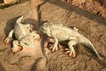 Aufbau der Ursaurier am Saurier-Erlebnispfad in Georgenthal